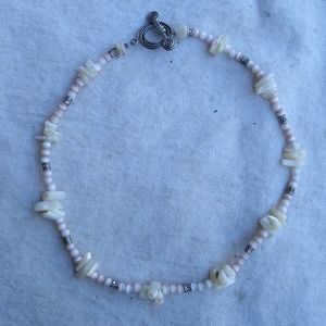 Handmade Mother Of Pearl & Cat's Eye Bead Necklace